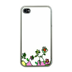 Floral Border Cartoon Flower Doodle Apple Iphone 4 Case (clear)