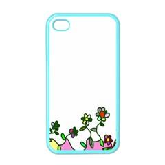 Floral Border Cartoon Flower Doodle Apple iPhone 4 Case (Color)