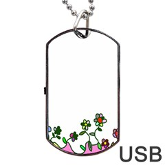 Floral Border Cartoon Flower Doodle Dog Tag USB Flash (One Side)