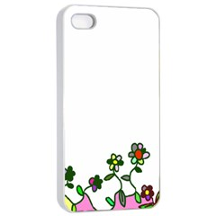 Floral Border Cartoon Flower Doodle Apple Iphone 4/4s Seamless Case (white)