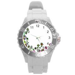 Floral Border Cartoon Flower Doodle Round Plastic Sport Watch (l)