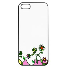 Floral Border Cartoon Flower Doodle Apple Iphone 5 Seamless Case (black)