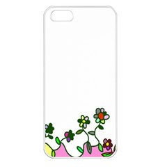 Floral Border Cartoon Flower Doodle Apple iPhone 5 Seamless Case (White)