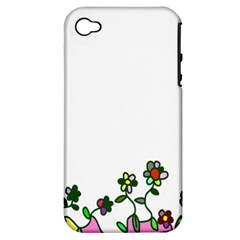 Floral Border Cartoon Flower Doodle Apple Iphone 4/4s Hardshell Case (pc+silicone)