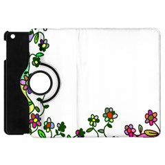 Floral Border Cartoon Flower Doodle Apple Ipad Mini Flip 360 Case