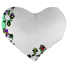 Floral Border Cartoon Flower Doodle Large 19  Premium Heart Shape Cushions