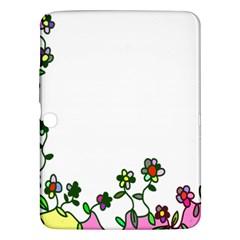 Floral Border Cartoon Flower Doodle Samsung Galaxy Tab 3 (10 1 ) P5200 Hardshell Case