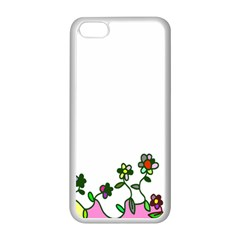Floral Border Cartoon Flower Doodle Apple iPhone 5C Seamless Case (White)