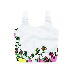 Floral Border Cartoon Flower Doodle Full Print Recycle Bags (S)