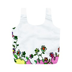 Floral Border Cartoon Flower Doodle Full Print Recycle Bags (M)