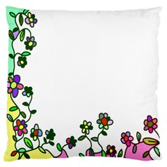 Floral Border Cartoon Flower Doodle Large Flano Cushion Case (two Sides)