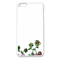 Floral Border Cartoon Flower Doodle Apple iPhone 6 Plus/6S Plus Enamel White Case