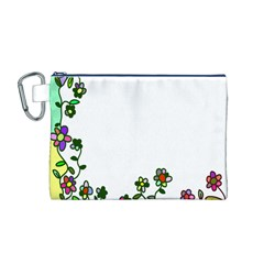 Floral Border Cartoon Flower Doodle Canvas Cosmetic Bag (M)