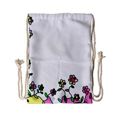 Floral Border Cartoon Flower Doodle Drawstring Bag (Small)