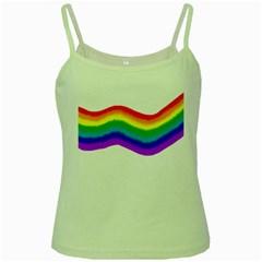 Watercolour Rainbow Colours Green Spaghetti Tank