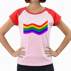 Watercolour Rainbow Colours Women s Cap Sleeve T-Shirt