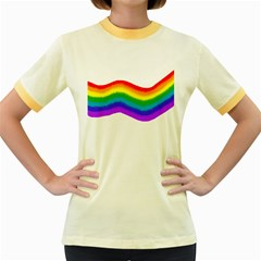 Watercolour Rainbow Colours Women s Fitted Ringer T Shirts