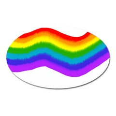 Watercolour Rainbow Colours Oval Magnet