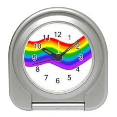 Watercolour Rainbow Colours Travel Alarm Clocks