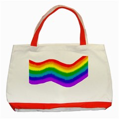 Watercolour Rainbow Colours Classic Tote Bag (red)