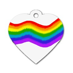 Watercolour Rainbow Colours Dog Tag Heart (One Side)