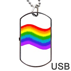 Watercolour Rainbow Colours Dog Tag USB Flash (Two Sides)