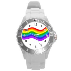 Watercolour Rainbow Colours Round Plastic Sport Watch (L)