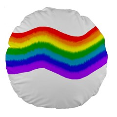 Watercolour Rainbow Colours Large 18  Premium Round Cushions