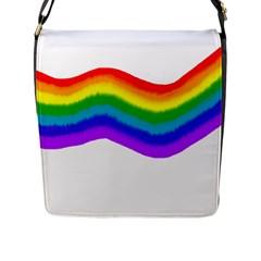 Watercolour Rainbow Colours Flap Messenger Bag (l)