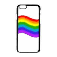 Watercolour Rainbow Colours Apple Iphone 6/6s Black Enamel Case