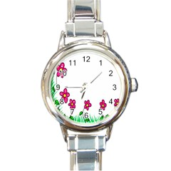 Floral Doodle Flower Border Cartoon Round Italian Charm Watch