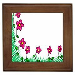 Floral Doodle Flower Border Cartoon Framed Tiles