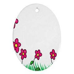 Floral Doodle Flower Border Cartoon Ornament (oval)