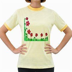 Floral Doodle Flower Border Cartoon Women s Fitted Ringer T Shirts