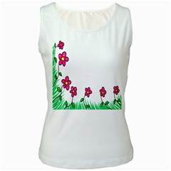 Floral Doodle Flower Border Cartoon Women s White Tank Top