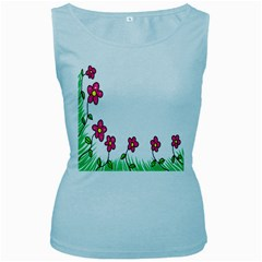 Floral Doodle Flower Border Cartoon Women s Baby Blue Tank Top
