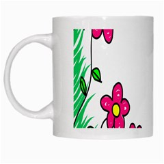 Floral Doodle Flower Border Cartoon White Mugs