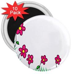 Floral Doodle Flower Border Cartoon 3  Magnets (10 pack)