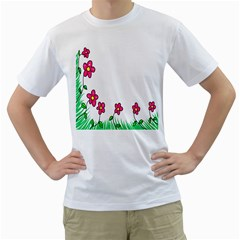 Floral Doodle Flower Border Cartoon Men s T-Shirt (White) (Two Sided)