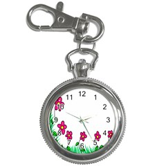 Floral Doodle Flower Border Cartoon Key Chain Watches