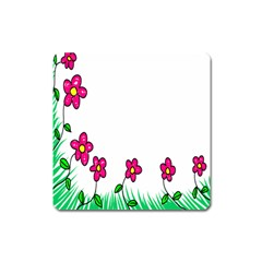 Floral Doodle Flower Border Cartoon Square Magnet