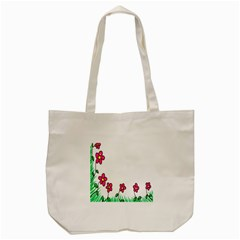 Floral Doodle Flower Border Cartoon Tote Bag (Cream)
