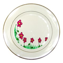 Floral Doodle Flower Border Cartoon Porcelain Plates