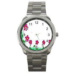Floral Doodle Flower Border Cartoon Sport Metal Watch