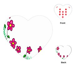 Floral Doodle Flower Border Cartoon Playing Cards (Heart)