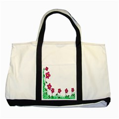 Floral Doodle Flower Border Cartoon Two Tone Tote Bag