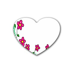 Floral Doodle Flower Border Cartoon Rubber Coaster (heart)