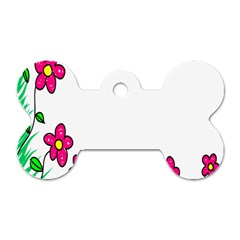 Floral Doodle Flower Border Cartoon Dog Tag Bone (One Side)