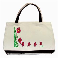 Floral Doodle Flower Border Cartoon Basic Tote Bag (two Sides)