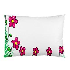 Floral Doodle Flower Border Cartoon Pillow Case